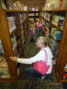 My daughter and her daughters at our local library.