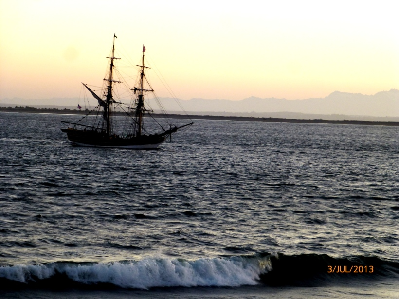 Taken first on this morning. Ship at Half Moon Bay.  Used binoculars; Johnny Depp not on board. Fouled again, matey!