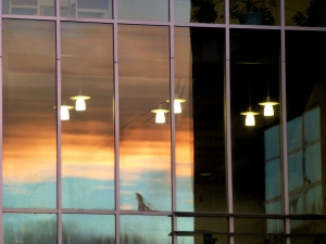 Sunset on window-wall of Centralia College. Oct 2nd. PHALL PHOTO 2013