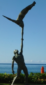 Holding You Up A bronze statue on hotel grounds in Kauai, Hawaii PHALL PHOTO 2012