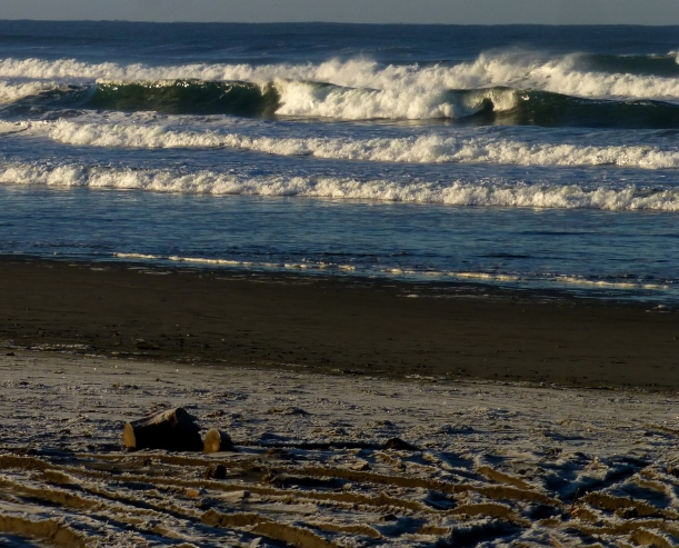 Frost on the sand here at Bonge Beach. More crazy wild waves. PHALL PHOTO 2013