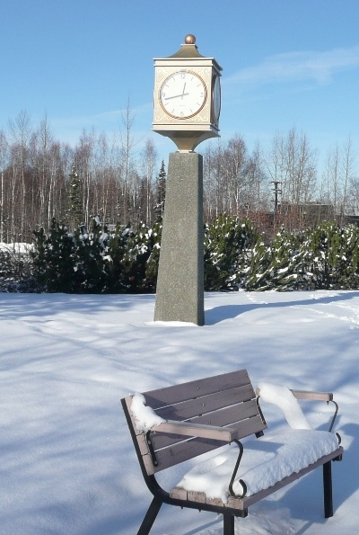Bench and clock tower. Eagle River, Alaska PHALL PHOTO 2014