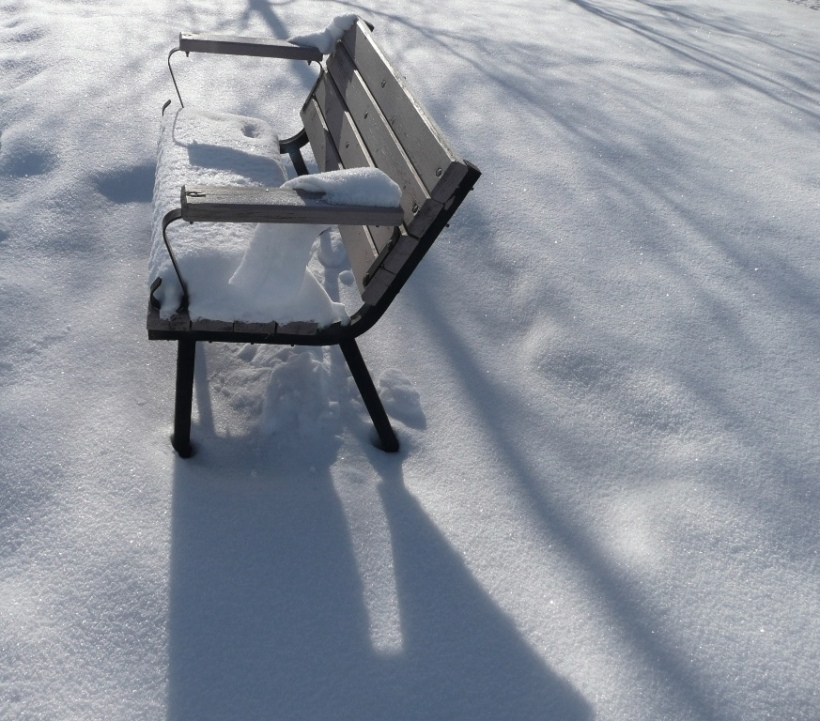 Empty Bench in Snow. Eagle River, Alaska PHALL PHOTO 2014
