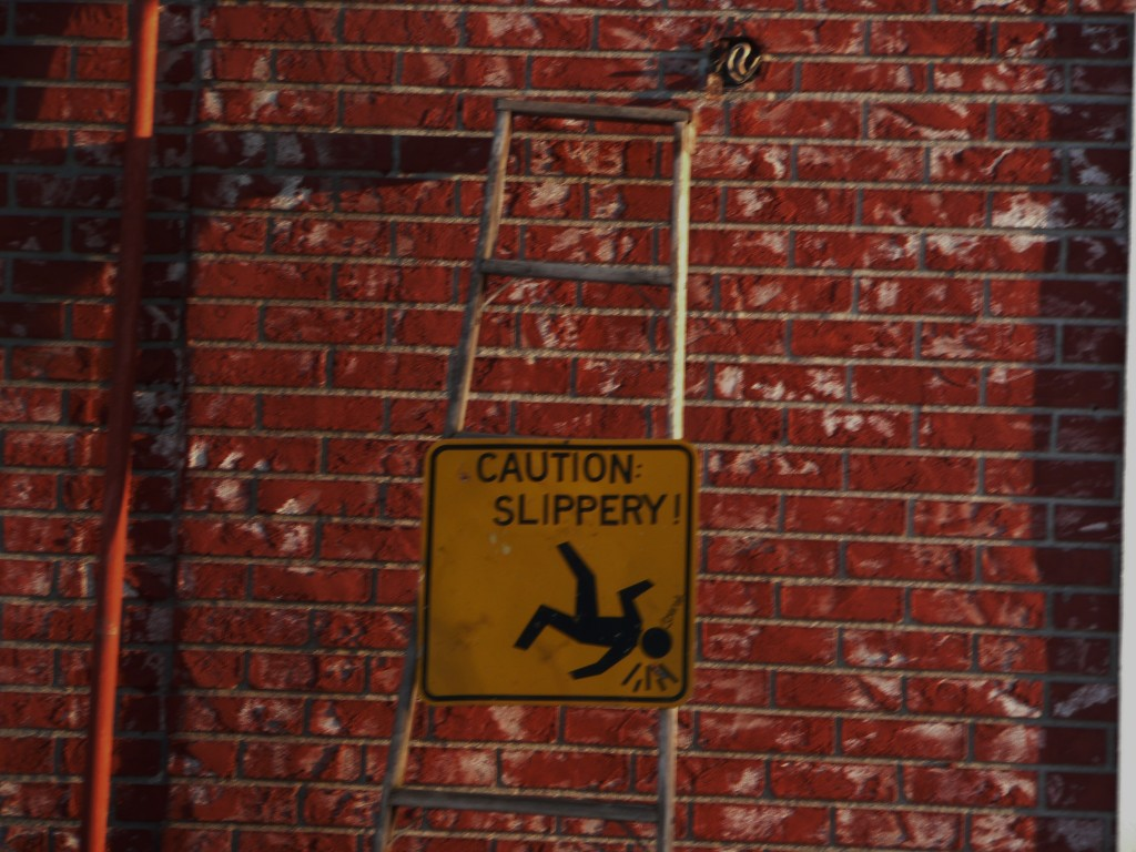 caution slippery sign